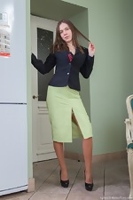 Elegant Agneta strips from stockings - pic #2