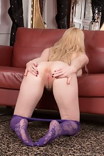 In her purple stockings, Aston Wilde strips naked - pic #13