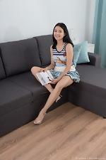 Bellavitana masturbates and has fun on her sofa - pic #1