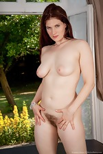 Hairy brunette Brianna Green enjoys her view - pic #16