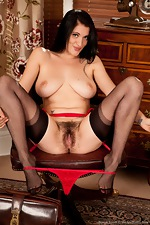 Raven haired Brook strips while looking at porn - pic #8