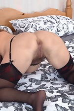 Cecelia Hart strips off her lingerie in bed - pic #11