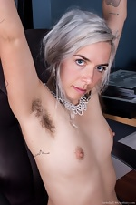 Cordelia shows her hairy pussy at work - pic #7