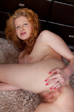 Hairy Crystal shows her red bush - pic #16