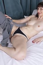 Destine masturbates in bed with a smile - pic #6