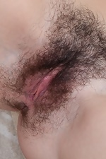 Pretty blue stockings make Edica's hairy pussy wet - pic #16