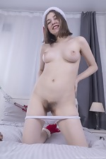 Eliza Thorn is naked with her holiday socks - pic #4