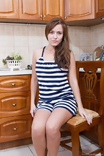 Hairy girl Era gets naked in her big kitchen - pic #2