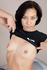 Cute girl Eva's pussy hair shows through panties - pic #1