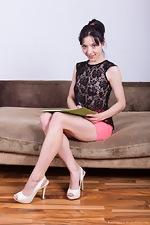 Eva Lisana slides off her pink skirt to masturbate - pic #1