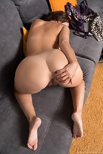 Gadget strips nude to masturbate on her sofa - pic #14
