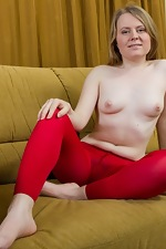Gina Lin's perfect hairy pussy in red leggings - pic #5