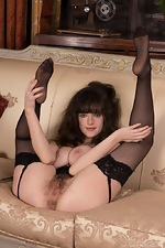 Elegant Kate Anne strips in black dress and stocking - pic #10