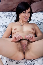 Kristy spreads her hairy pussy and ass - pic #12