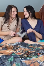 Jennifer and Mia like touching their hairy pussies - pic #1