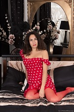 Liz strips naked in her red stockings and red dress - pic #2