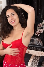Liz strips naked in her red stockings and red dress - pic #3