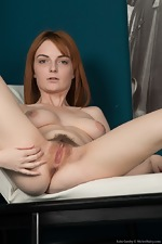 Lola Gatsby gets naked on her white leather chair  - pic #16