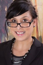 Lucy Dutch strips in office with sexy glasses on - pic #1