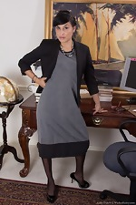 Lucy Dutch strips in office with sexy glasses on - pic #2