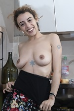 Lula shows her hairy pussy in her kitchen - pic #3