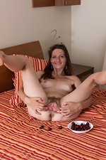 Lulu enjoys cherries and stripping naked on bed - pic #7