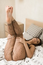 Mary K undresses from lingerie and stockings  - pic #3