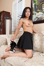 Hairy woman Max Makita strips naked in livingroom - pic #9