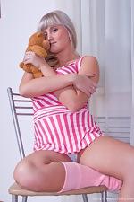 Peek up Maya's short pink dress - pic #3