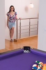 Melani Bree strips naked on her billiards table - pic #1