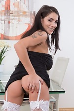 Mischel Lee takes off black dress and stockings  - pic #3