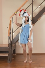 Pavla strips naked on her wooden stairs  - pic #1