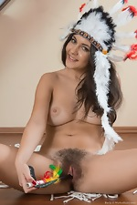 Pavla strips naked on her wooden stairs  - pic #13