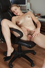 All natural hairy babe Rachel in office - pic #11