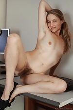 All natural hairy babe Rachel in office - pic #16