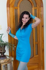 In blue, Ramira strips in stockings and gets naked - pic #2