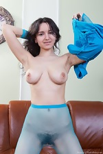 In blue, Ramira strips in stockings and gets naked - pic #4