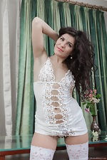In white, Rimma S strips and enjoys herself  - pic #3
