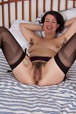 Hairy girl Sadie Lune strips in purple lingerie - pic #6