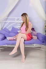 Stella strips from stockings to masturbate alone - pic #1