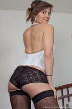 Suzette is looking sexy in her white lingerie - pic #4