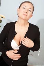Sveta tugs on her mature bush - pic #3