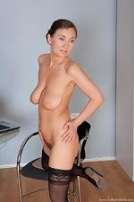Sveta tugs on her mature bush - pic #16