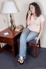 Hairy girl Tamar talks dirty over the phone - pic #1