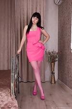 Dressed in pink Tayra Jane strips naked  - pic #1
