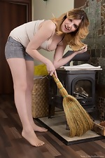 Terry strips naked after cleaning her fireplace  - pic #2