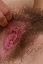 Amateur brunette Vanessa spreads hairy pussy - pic #11