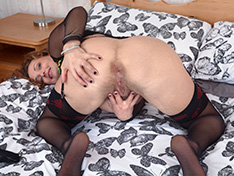 Cecelia Hart strips off her lingerie in bed