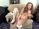 Cecelia Hart strips naked on her brown chair