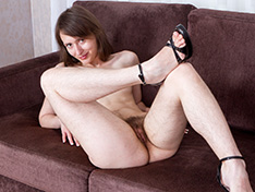 Hairy girl Mary strips off her yellow dress